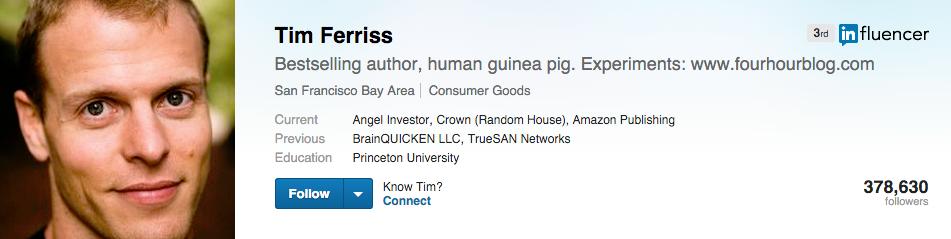 Tim ferriss on LinkedIn